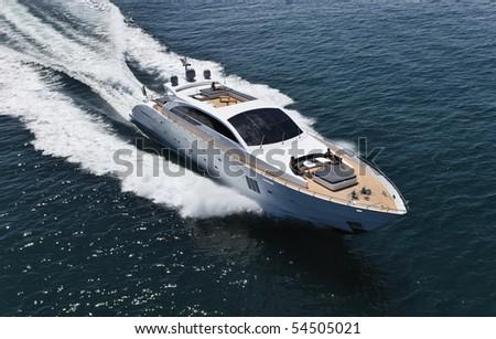 Italy, Tirrenian sea, off the coast of Viareggio, Tuscany, luxury yacht Tecnomar 36 (36 meters), aerial view - stock photo