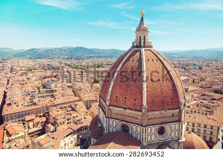 Italy, Toscana, Florence. Dome of the Cathedral of Santa Maria del Fiore in the background of the city panorama