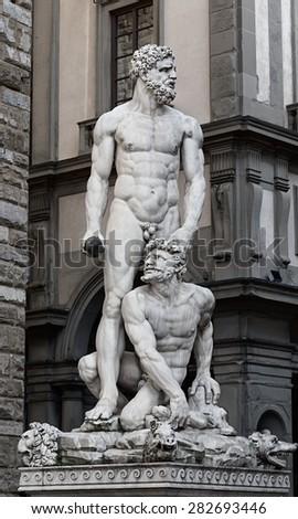 Italy, Toscana, Florence. Piazza Della Signoria. Hercules and Cacus, sculpture by Baccio Bandinelli - stock photo
