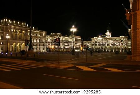 Italy, Trieste, road in front of piazza Unità d'Italia by night - stock photo