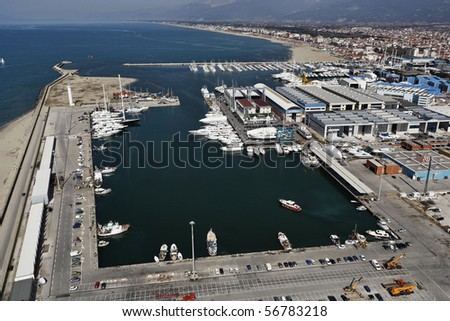 Italy, Tuscany, Viareggio, aerial view of the city and the port