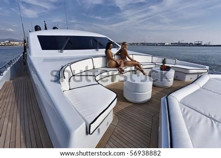 Italy, Tuscany, Viareggio, Tecnomar Velvet 100' luxury yacht - stock photo