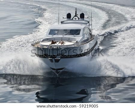 Italy, Tuscany, Viareggio, Tecnomar Velvet 100' luxury yacht, aerial view - stock photo