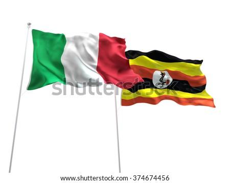 Italy & Uganda Flags are waving on the isolated white background - stock photo