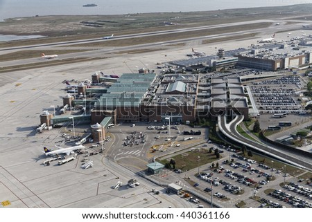Italy, Venice; 14 September 2011, aerial view of Venice airport - EDITORIAL
