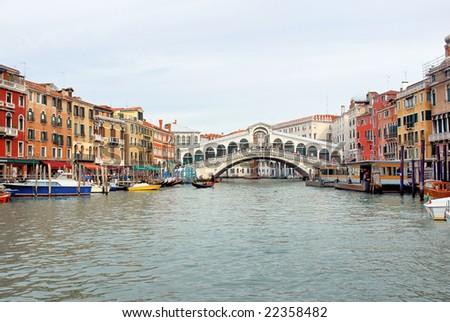 Italy,Venice the grand canal and the Rialto bridge - stock photo