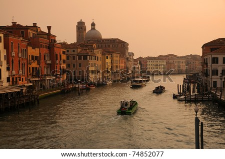 Italy, Venice the Grand Canal from  Scalzi bridge - stock photo