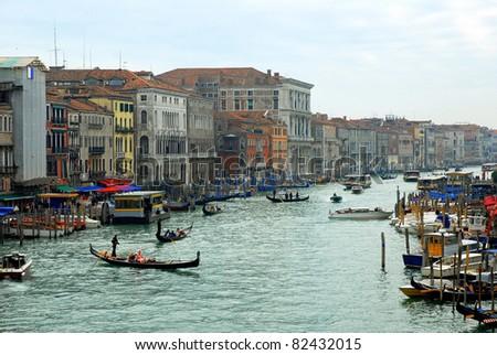 Italy,Venice the grand canal view from Rialto bridge - stock photo