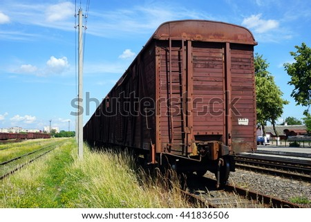 Item wagons. Railway loading and unloading. Freight trains.  Traveling on Belarus              - stock photo