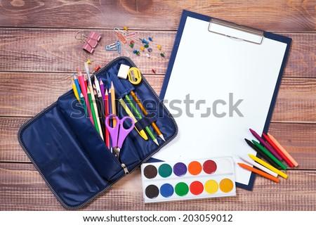Items for children's creativity, background - stock photo