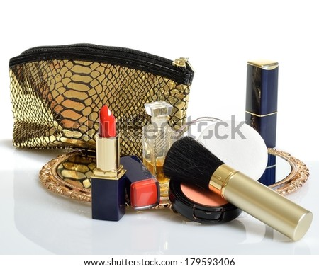 items for decorative cosmetics, makeup, mirror  - stock photo