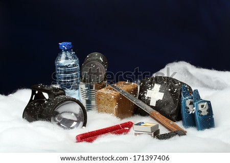 Items for emergency in snow storm  - stock photo