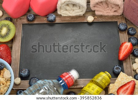 Items for sports, fitness and diet concept - stock photo