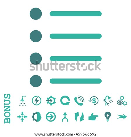 Items glyph bicolor icon. Image style is a flat iconic symbol, cobalt and cyan colors, white background.