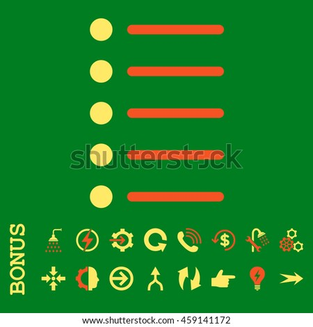 Items glyph bicolor icon. Image style is a flat iconic symbol, orange and yellow colors, green background.