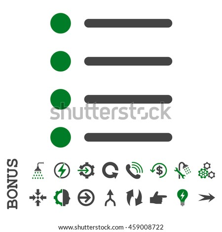 Items glyph bicolor icon. Image style is a flat pictogram symbol, green and gray colors, white background.