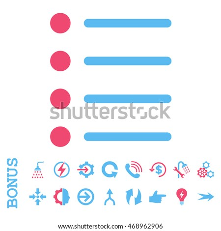 Items glyph bicolor icon. Image style is a flat pictogram symbol, pink and blue colors, white background.