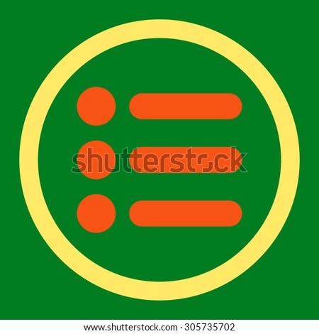 Items raster icon. This rounded flat symbol is drawn with orange and yellow colors on a green background.