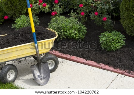 Its about that time to mulch around the neighborhood. - stock photo