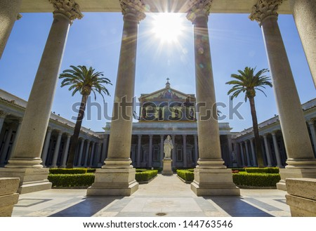 Its basil of St. Paul Outside the Walls is one of the four the papal basilicas of Rome, the second largest after St. Peter's in the Vatican. - stock photo