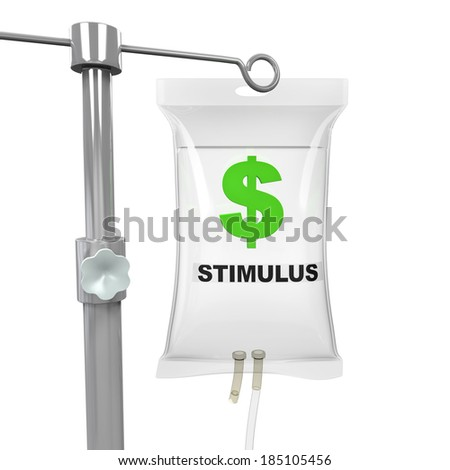 IV Bag Economic Stimulus Illustration - stock photo