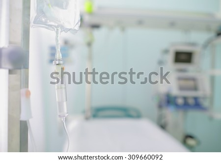 Iv drip on the background of blurred ward. Concept of serenity in hospital - stock photo