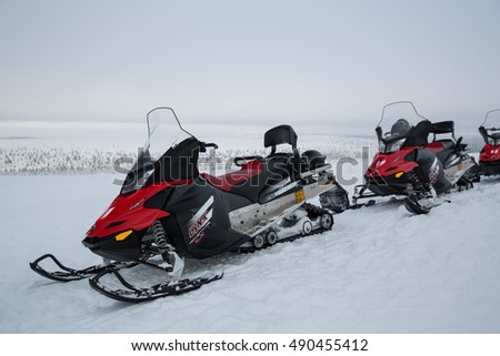 Ivalo, Finland - February 20, 2016: Snowmobile in Lapland, Finland.