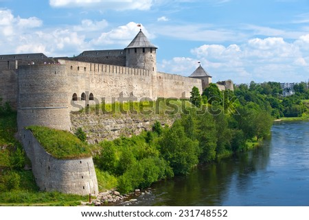 Ivangorod fortress at the border of Russia and Estonia - stock photo