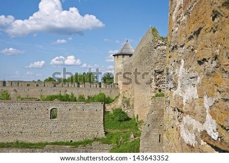 Ivangorod Fortress, domestic buildings - stock photo