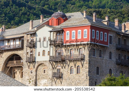Iviron medieval monastery building details on Holy Mount Athos - stock photo