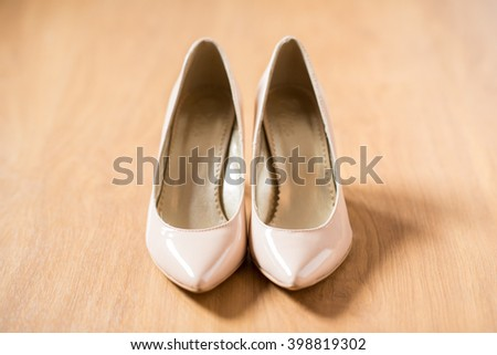Ivory bride shoes  - stock photo