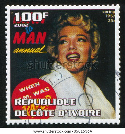 IVORY COAST - CIRCA 2002: stamp printed by Ivory Coast, shows Marilyn Monroe, circa 2002. - stock photo