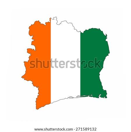 ivory coast country flag map shape national symbol - stock photo