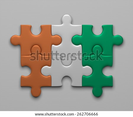 Ivory Coast flag assembled of puzzle pieces on gray background - stock photo
