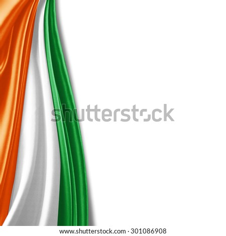 ivory coast flag of silk with copyspace for your text or images and white background