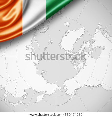 ivory coast flag of silk with copyspace for your text or images and world map background -3D illustration