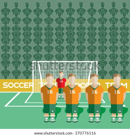 Ivory Coast Football Club Soccer Players Silhouettes. Computer game Soccer team players big set. Sports infographic. Football Teams in Flat Style. Goalkeeper Standing in a Goal. Raster illustration. - stock photo