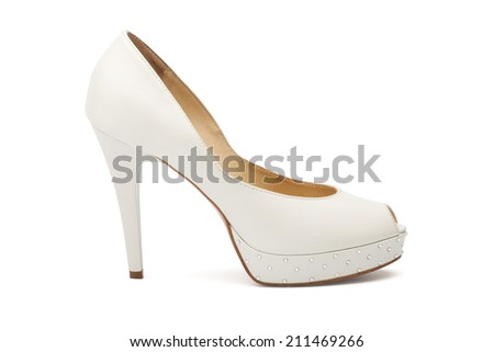 Ivory female wedding footwear isolated over white background
