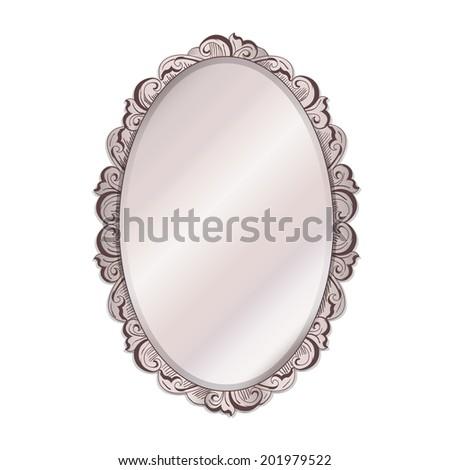 ivory vintage mirror  isolated illustration - stock photo