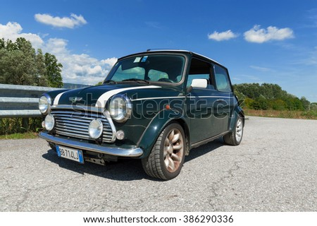 IVREA, ITALY - AUGUST 25, 2015: A 1998 limited edition Mini Cooper parked on a sunny day.