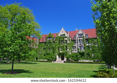 Ivy clad halls by front view at University of Chicago campus - stock photo