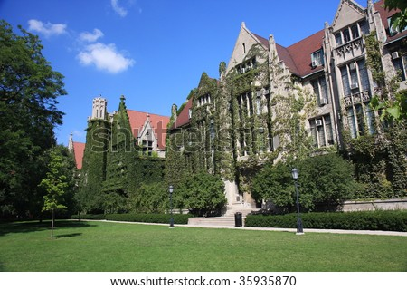 Ivy clad halls of the University of Chicago campus - stock photo