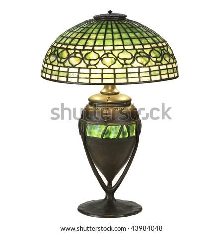 ivy leaf glass table lamp - stock photo