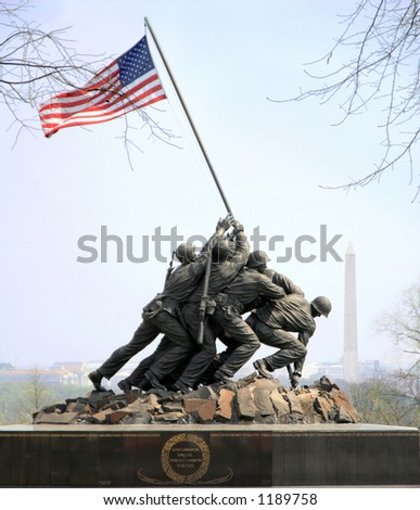 Iwo Jima Memorial in Arlington is dedicated to the U.S. Marines - stock photo