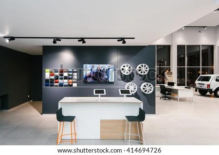 IZHEVSK-RUSSIA-08 MARCH - Brand new design of the Lada Showroom interior - stock photo