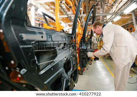 Izhevsk, Russia - SEPTEMBER 25: Car Assembly Line. Start Of Product  of LADA Vesta at the Automobile Factory IZHAVTO - AVTOVAZ, on September 25, 2015 in Izhevsk - stock photo