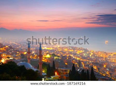 Izmir at nighttime. View from Kadifekale - stock photo