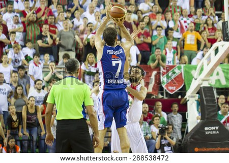 IZMIR   JUNE 16: Anadolu Efes's EFSTRATIOS PERPEROGLOU shoots to the basket  in Turkish Basketball League game between Pinar Karsiyaka 91-88 Anadolu Efes on June 16, 2015 in Izmir
