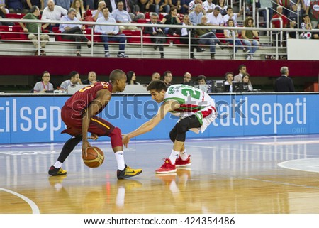 IZMIR - MAY 20: Galatasaray Odeabank's Errick McCollum driving to the basket in Turkish Basketball League game between Pinar Karsiyaka 62-65 Galatasaray Odeabank on May 20, 2016 in Izmir11 - stock photo