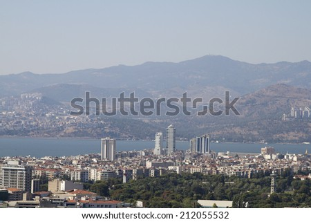 IZMIR, TURKEY - JULY 9: View of the city from a height of Izmir Fortress Kadifekale on July 9, 2014 in Izmir.